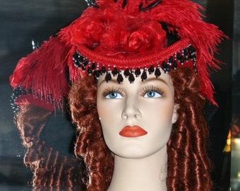 Kentucky Derby Hat Victorian Hat Hat Riding Hat SASS Hat Red Hat Society Women's Western Hat - Spirit of Moulin Rouge
