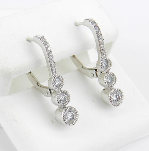 White Gold .75 ct Diamond Drop Earrings Unique Three Stone Design Leverback