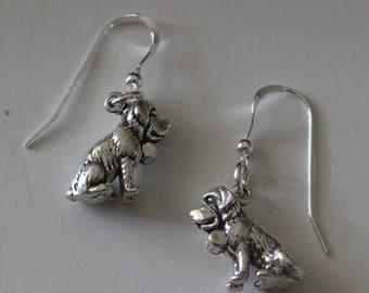 Sterling Silver 3D ST. BERNARD DOG Earrings - Pets