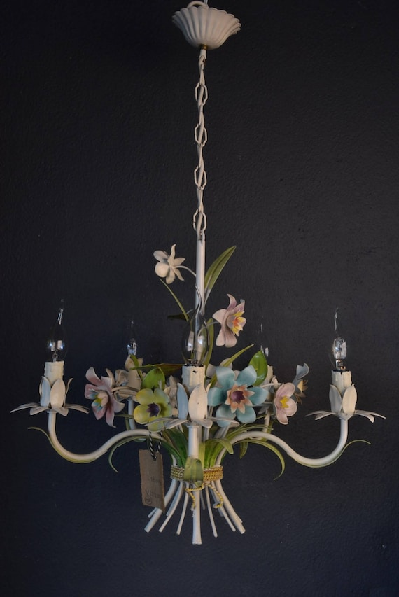 Colourful tole chandelier with various metal flowers