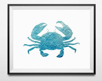 Crab Print, Crab Wall Art, Tropical Wall Decor, Nautical Wall Art, Beach House Art, Summer Print, Coastal Decor, Beach Art, Crab Wall Decor