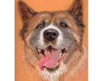 """Pet Portrait - Akita Dog Portrait Commission or any breed, Custom portrait from your photos 5"""" x 7"""" Gift Certificate"""