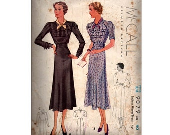 McCall 9079 RARE Womens 1930s Ruffled Bodice Dress Vintage Sewing Pattern Size PLUS SIZE Bust 40 inches