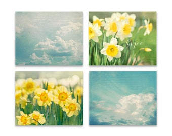 Blue and Yellow Wall Art, SET of FOUR Prints or Canvases, Nursery Wall Art Set, Spring Wall Decor, Cloud Wall Art, Daffodil Photography