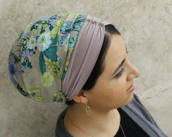 easy to wear head scarf, Jewish head covering, Chiffon headscarf, very light and comfortable by oshratDesignz