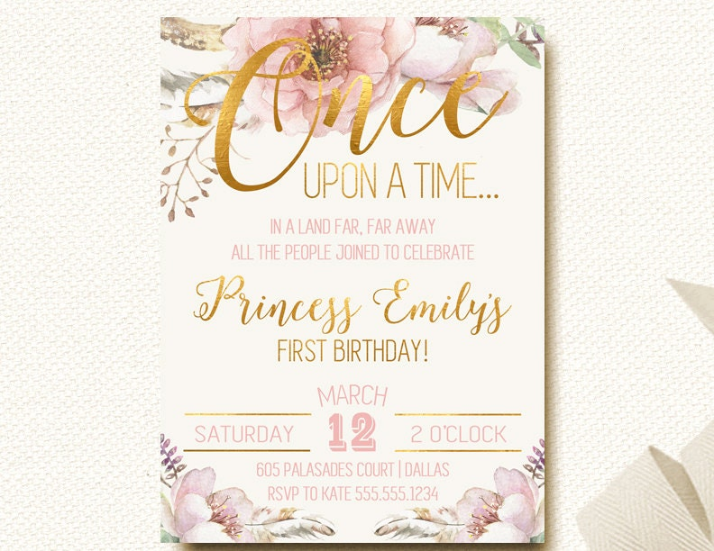 Once Upon A Time Invitation Fairytale Birthday Woodland Boho