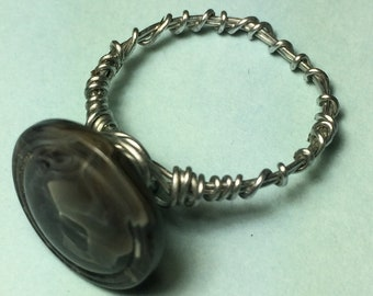 Size 8 Gray Button Wire Wrapped Ring