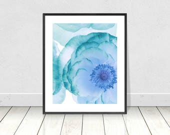 BLUE WALL ART - Teal and Blue Flower Print on White Background  -  Digital Print - Instant Download - Wall Art - Flower Art - A3 Print