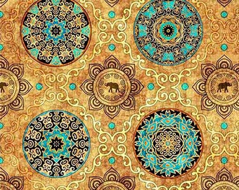 Gold medallion fabric, Quilting fabric, cotton fabric, quilting treasures, elephant fabric, gold fabric, fabric by the metre