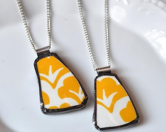 You ComPlate Me - Matching Broken Plate Friendship Necklaces - Yellow and White - Recycled China