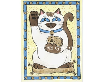 Siamese Luck - Choose from ACEO Print, Note Card with Stickers, or Art Print