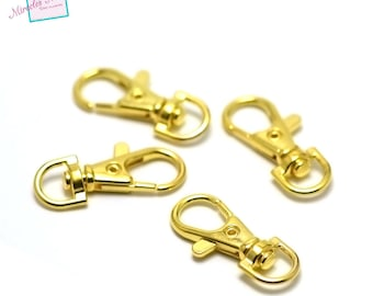 4 large key hooks swivel, 38 x 15 mm, gold