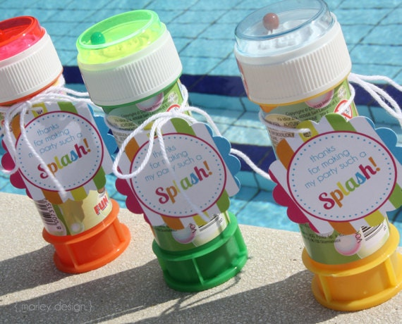 INSTANT DOWNLOAD Pool Party Favor Tags Birthday Printables Splish Splash Summer Thank You Favors 2 Inch