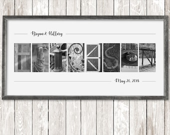 Custom Frame Alphabet Photography Letter Wall Art Print First Anniversary Gift for Him Engagement Gift Couple Last Name Establish Cool Idea