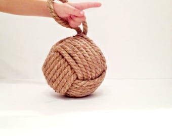 Nautical rope door stop-monkey fist door stop-shelf decor book-end-coastal home decor