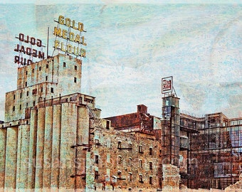 Ruins Gold Medal Park, Minneapolis, collaged print,  luster paper, wall art,  corporate art, office art