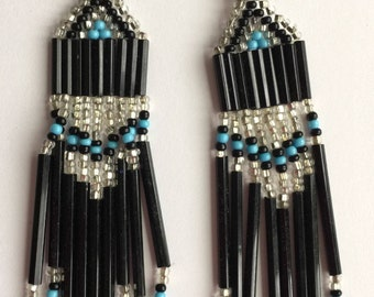 Extra Long Handcrafted Beaded Earrings Black Turquoise Silver Southwestern Look