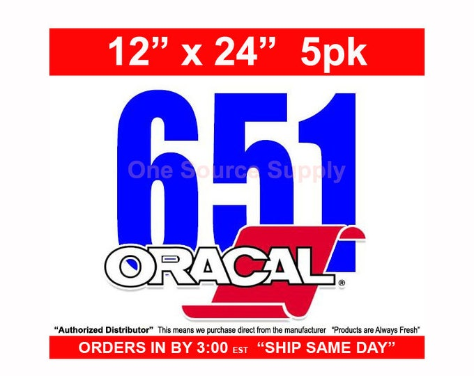 "12""x 24"" / 5-sheets / Oracal 651 Gloss Finish Vinyl - PSV- Craft Vinyl - Decal Vinyl"