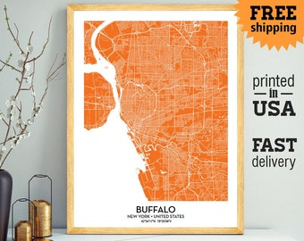 Buffalo Map Print Wall Art, Buffalo City Print, University at Buffalo Poster, Personalized Wedding Map Art Gift For Couple, Custom city map