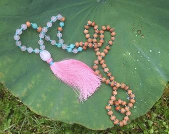 Mala Necklace Sandalwood - Pink Tassel Necklace - Rose Quartz Mala Beads - Amazonite Yoga Necklace - Gemstone Knotted Mala - Mala Beads 108