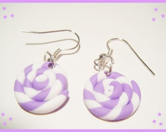 Polymer clay greed Lavender lollipop candy jewelry polymer clay purple earrings