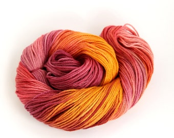DK organic merino silk, hand dyed double knitting wool, light worsted crochet yarn skein, uk Perran Yarns Sunset Party red orange plum pink