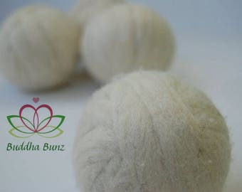 100% wool dryer balls, undyed, handmade by Buddha Bunz