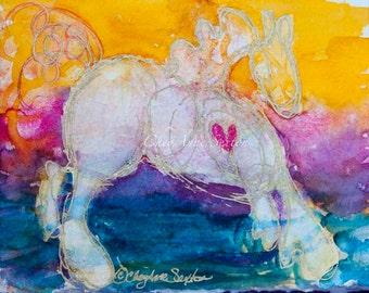 Watercolor Horse Art - My Gold Hearted Pony WaterColour Nursery Decor Teal orange Yellow purple bright fun funky Giclee print