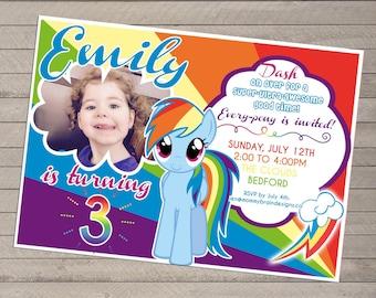 Rainbow Dash Birthday Invite with Photo - My Little Pony