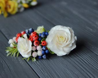 roses headband, roses barrette, roses comb, bridesmaids winter, bride winter, roses hairclip, bridal rustic, winter comb, custom jewelry