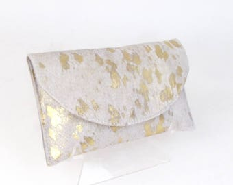 Ivory and Gold Cowhide Clutch - Acid Washed Metallic Clutch