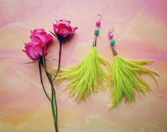 Caxias ostrich plume, quartz and chrysoprase shoulder duster feather earrings