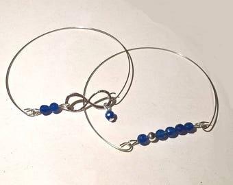 Bracelet fine ligne bleu de pierre gemme et bracelet infini argent et bleu-bracelet empilable-bracelet minimaliste-bracelet jonc pierre