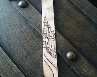 Fantasy castle pyrography bookmark planner page marker with pink tassel