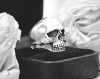 Keith Richards Handcrafted Silver Skull Ring Rock Biker Punk Goth