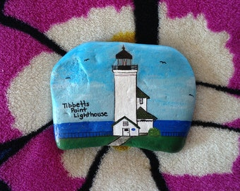 Tibbetts Point Lighthouse, 1000 Islands Hand Painted Rock