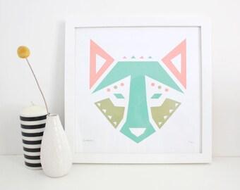 Kids Art, Dog Print, Wolf Screenprint, Abstract, Geometric
