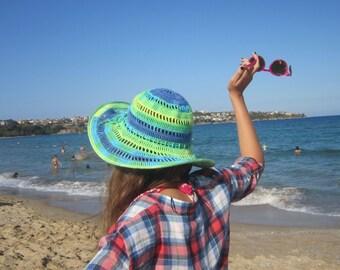 Mermaid Summer Floppy Hat. Women Cloche Wide Brim. Crochet Bridesmaid Romantic Hat. Sun Protection Hat. Cotton Lace Hat by dodofit on Etsy