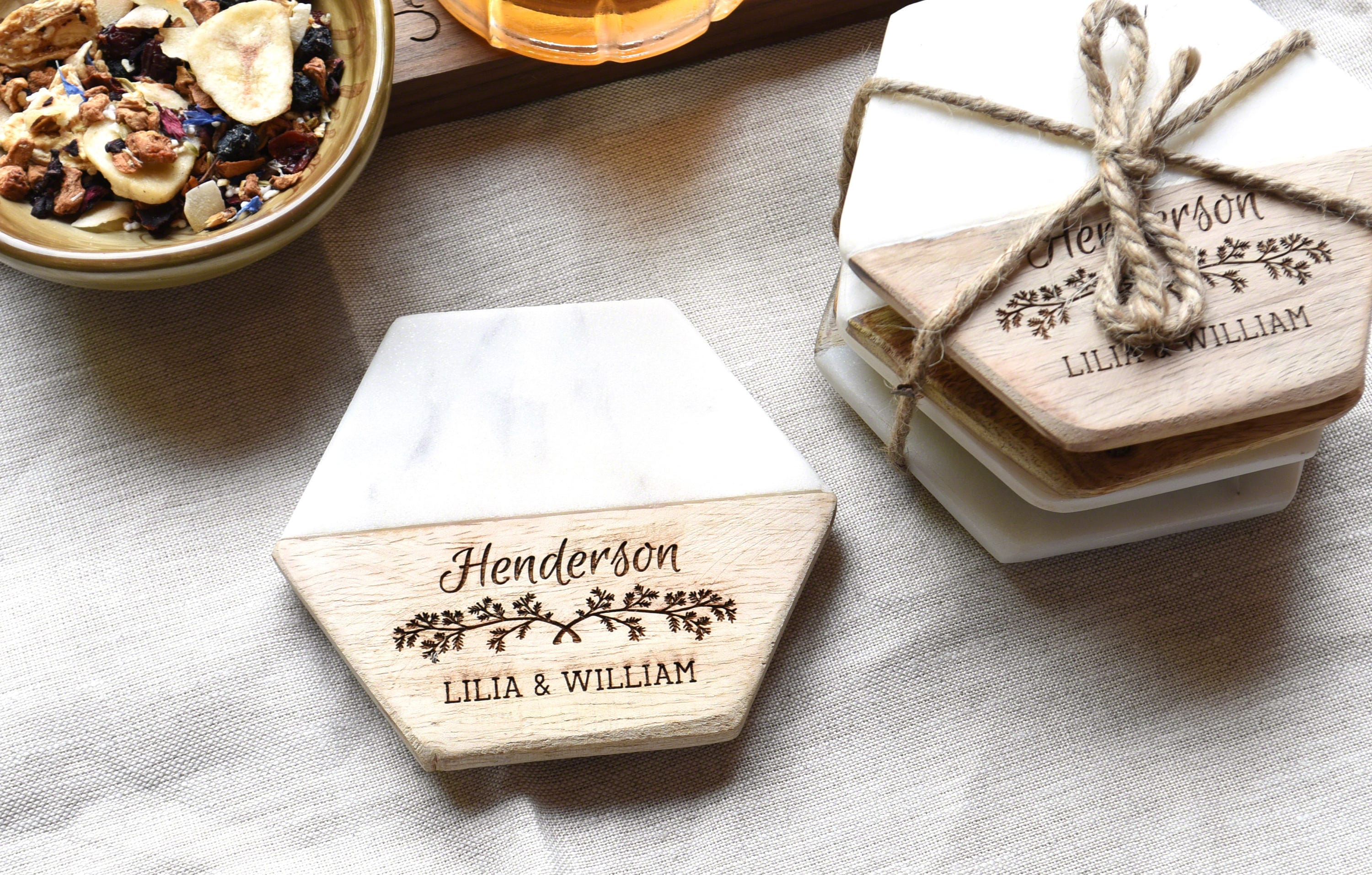 Drink Coasters - Personalized Wood and Marble Coaster - Gift for Couple - Coaster Set (Set of 4)