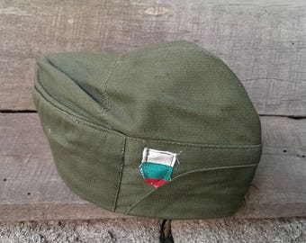 Vintage Military Army Soldier's Hat , Green Canvas Hat from 1970s, Unused Soldier's hat with leather lining