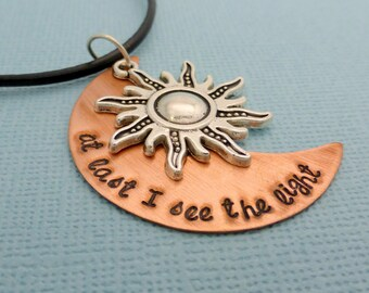 Tangled Rapunzel Inspired - At Last I See The Light - A Hand Stamped Necklace or Keychain