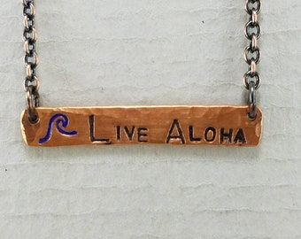 Live Aloha Hand Stamped Bar Necklace