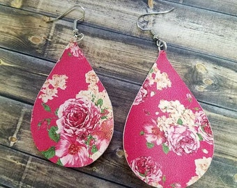 Floral Faux Leather Teardrop Earrings/earrings/leather/leather earrings/florals/spring/summer