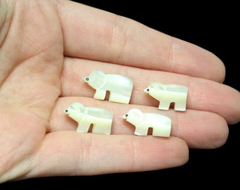 Zuni Mother of Pearl Bear Fetish Beads - Set of 4