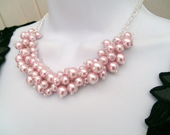 Set of 6 Necklaces, Pearl Beaded Necklace, Bridal Jewelry, Cluster Necklace, Chunky Necklace, Bridesmaid Gift, Custom Colours - Pink  Pearls