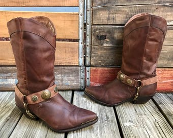 CODE WEST Brown Leather Conchos Harness Western Cowboy Boots Women's 6M