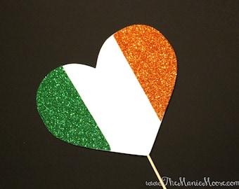 Photo Booth Props ~ GLITTERY Irish Flag Heart  - Ireland Flag - GLITTER Photobooth Prop