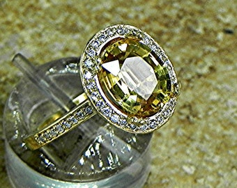 AAA Natural Yellow Sapphire   10x8mm  2.48 Carats   in a 14k Yellow gold ring with diamonds (.32ct) Ring 1806