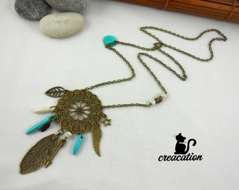 """Necklace """"Dreamcatcher"""" ethnic style, silver metal"""