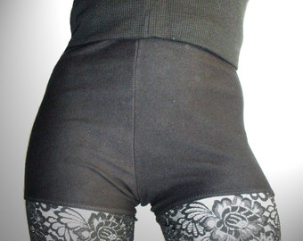 hot pants kidney & bladder protection of fat rib knit hem Black XL-4XL